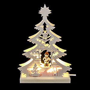 Lichterwelt Lichterspitzen Lichterspitze Mini-Baum Weihnachtsmarkt - 23,5x15,5x4,5 cm