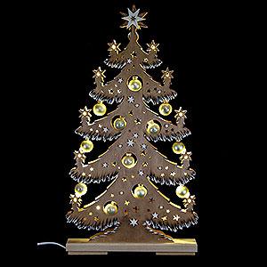 Lichterwelt Lichterspitzen Lichterspitze Tanne goldene Kugeln braun Raureif - 30,5x57,5 cm