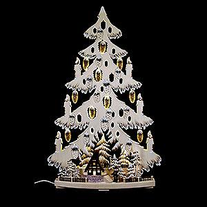 Lichterwelt Lichterspitzen Lichterspitze Tannenbaum mit Waldhütte und Raureif - 44x67x9 cm