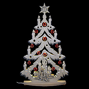 World of Light Light Triangles Light Triangle - Fir Tree Grey with White Frost with Christmas Ball - 72x38 cm / 28x15 inch
