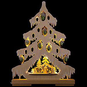 World of Light Light Triangles Light Triangle - Fir Tree with Deer, Green Glass Cones and White Frost - 32x42 cm / 12.6x16.5 inch