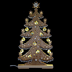 World of Light Light Triangles Light Triangle - Fir Tree with Golden Balls, Brown, White Frost - 30,5x57,5 cm / 12x22.6 inch