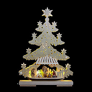 World of Light Light Triangles Light Triangle - Fir Tree with Nativity Scene - 32x44x7 cm / 13x17x8 inch