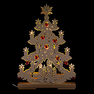 World of Light Light Triangles Light Triangle - Fir Tree with Red Christmas Balls - 32x44 cm / 12.6x17.3 inch
