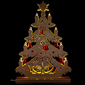 World of Light Light Triangles Light Triangle - Fir Tree with red Bells - 32x44 cm / 12.6x17.3 inch