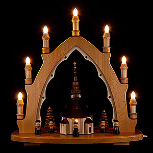 Candle Arches Illuminated inside Light Triangle - Seiffen Church with Carolers - 42x44 cm / 16.5x17.3 inch