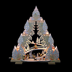 World of Light Light Triangles Light Triangle - 'Sledding on Goat Mountain' - 44x50x11 cm / 17x20x4,3 inch
