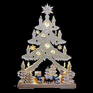 World of Light Light Triangles Light Triangle - Snow Men with Blue Hats, Natural with White Frost - 32x44 cm /12.6x17.3 inch
