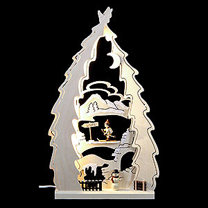 Candle Arches Fret Saw Work Light Triangle - Tree Cross Country Ski - 43x25x4,5 cm / 17x10x1.7 inch