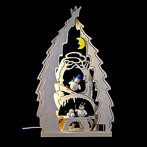 World of Light Light Triangles Light Triangle - Tree with Snowmen - 43x25x4,5 cm / 16.9x9.8x1.7 inch