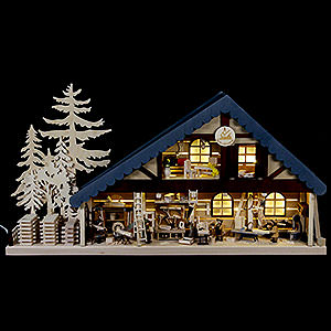 World of Light Lighted Houses Lighted House Carpentry - 70x38x8 cm / 28x15x3 inch