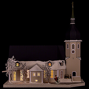 World of Light Lighted Houses Lighted House Church Olbernhau with Carolers - 36 cm / 14.2 inch