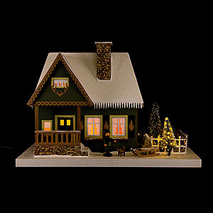 World of Light Lighted Houses Lighted House Old Forester's Lodge with Christmas Tree - 25 cm / 9.8 inch