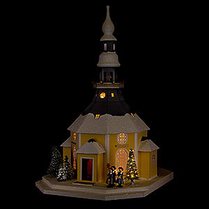 World of Light Lighted Houses Lighted House Seiffen Church with Carolers and Christmas Tree - 42 cm / 16.5 inch