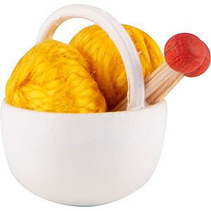 Small Figures & Ornaments Flade Flax Haired Children Little Basket with Wool,yellow - 1,5 cm / 0.6 inch