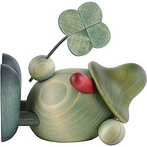 Small Figures & Ornaments Björn Köhler Little Green Men Little Green Man with Four-Leaf Clover, Lying Down - 11 cm / 4.3 inch