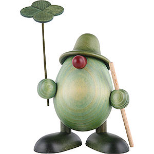Small Figures & Ornaments Björn Köhler Little Green Men Little Green Man with Four-Leaf Clover and Stick, Standing - 11 cm / 4.3 inch