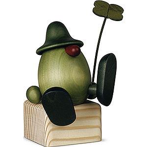Small Figures & Ornaments Björn Köhler Little Green Men Little Green Man with Four-Leaf Clover on Edge Sitting/Dancing - 11 cm / 4.3 inch