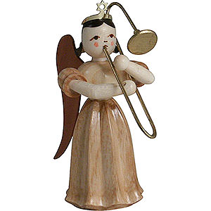 Angels Long Pleated Skirt Angels (Blank) Long Pleated Skirt Angel with Slide Trombone, Natural - 6,6 cm / 2.6 inch