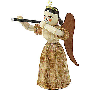 Angels Long Pleated Skirt Angels (Blank) #Long Pleated Skirt Angel with Transverse Flute, Natural - 6,6 cm / 2.6 inch