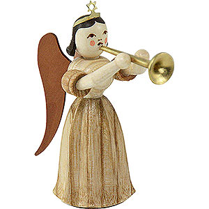 Angels Long Pleated Skirt Angels (Blank) Long Pleated Skirt Angel with Trombone, Natural - 6,6 cm / 2.6 inch