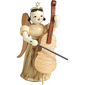 Angels Long Pleated Skirt Angels (Blank) Long Pleated Skirt Angel with Violoncello, Natural - 6,6 cm / 2.6 inch