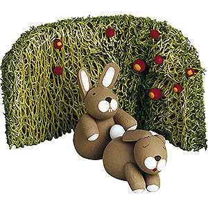 Small Figures & Ornaments Günter Reichel Easter Bunnies Lovers with Rose Bush - 2,7 cm / 1.1 inch