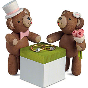 Small Figures & Ornaments Animals Bears Lucky Bears Wedding Couple - 3,5 cm / 1.4 inch
