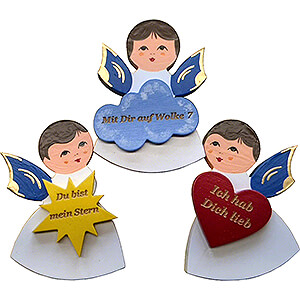 Weihnachtsengel Sonstige Engel Magnetpins 3er-Set - Engel mit Herz, Stern, Wolke - Blaue Flügel - mit Sprüchen - 7,5 cm