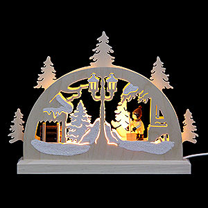 Candle Arches Fret Saw Work Mini Candle Arch - Snow Shovelling - 23x15x4,5 cm / 9x6x2 inch