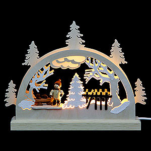 Candle Arches Fret Saw Work Mini LED Light-Arch Ice Skater (3 Figures) - 23x15x4, cm / 9x6x2 inch