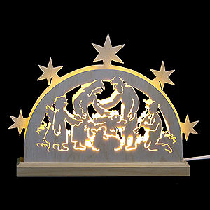 Candle Arches Fret Saw Work Mini LED Lightarch - Nativity Motif - 23x15x4,5 cm / 9x6x2 inch
