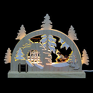 Candle Arches Fret Saw Work Mini LED Lightarch - Winter Countryside - 23x15x4,5 cm / 9x6x2 inch