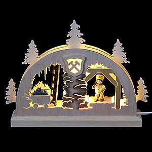 Schwibbögen Laubsägearbeiten Mini-LED-Schwibbogen Bergwerk - 23x15x4,5 cm