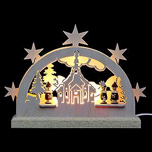 Schwibbögen Laubsägearbeiten Mini-LED-Schwibbogen Seiffener Kirche - 23x15x4,5 cm