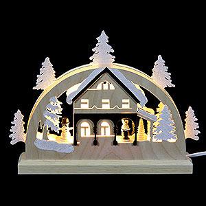 Schwibbögen Laubsägearbeiten Mini-LED-Schwibbogen Umgebindehaus - 23x15x4,5 cm