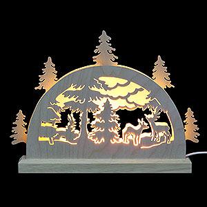 Schwibbögen Laubsägearbeiten Mini-LED-Schwibbogen Waldmotiv - 23x15x4,5 cm
