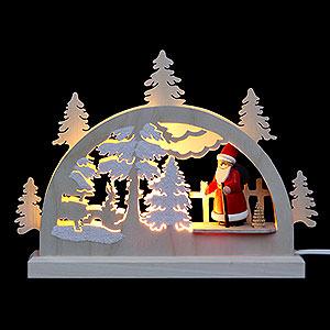 Schwibbögen Laubsägearbeiten Mini-LED-Schwibbogen Weihnachtsmann im Wald - 23x15x4,5 cm