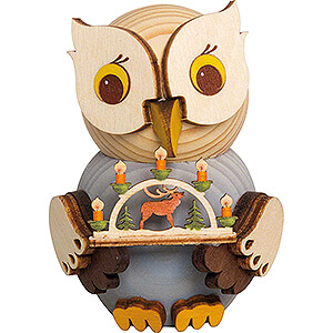 Small Figures & Ornaments Kuhnert Mini Owls Mini Owl with Candle Arch - 7 cm / 2.8 inch
