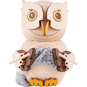 Small Figures & Ornaments Kuhnert Mini Owls Mini Owl with Knitting - 7 cm / 2.8 inch