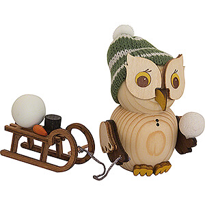 Small Figures & Ornaments Kuhnert Mini Owls Mini Owl with Sleigh - 7 cm / 2.8 inch