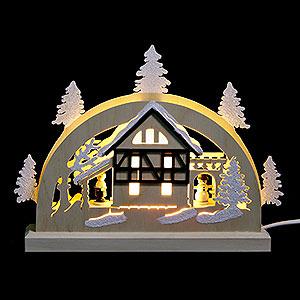 Schwibbögen Laubsägearbeiten Mini-Schwibbogen Fachwerkhaus - 23x15x4,5 cm