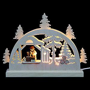 Schwibbögen Laubsägearbeiten Mini-Schwibbogen Holzhacker - 23x15x4,5 cm