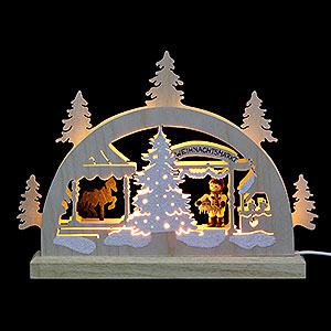 Schwibbögen Laubsägearbeiten Mini-Schwibbogen Weihnachtsmarkt - 23x15x4,5 cm