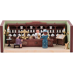 Small Figures & Ornaments Miniature Rooms Miniature Room - Pharmacy with Pharmacist - 4 cm / 1.6 inch