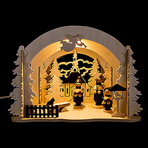 World of Light Lighted Houses Motive Light - Diorama Seiffen Market - 19 cm / 7.5 inch