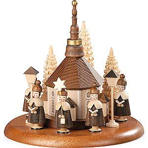 Spieldosen Alle Spieldosen Motivplattform für elektr. Spieldose - Kurrende mit Seiffener Kirche natur - 13 cm