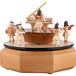 Music Box with Angel at the Piano, Natural - 21x18 cm / 7.1 inch