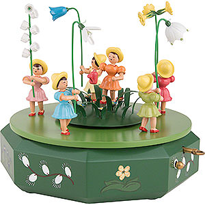 Music Boxes Seasons Music Box with Five Flower Children and Flower Meadow - 21x18 cm / 7.1 inch