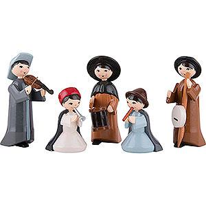 Small Figures & Ornaments ULMIK Nativity colored Musicians, Set of Five, Colored - 7 cm / 2.8 inch